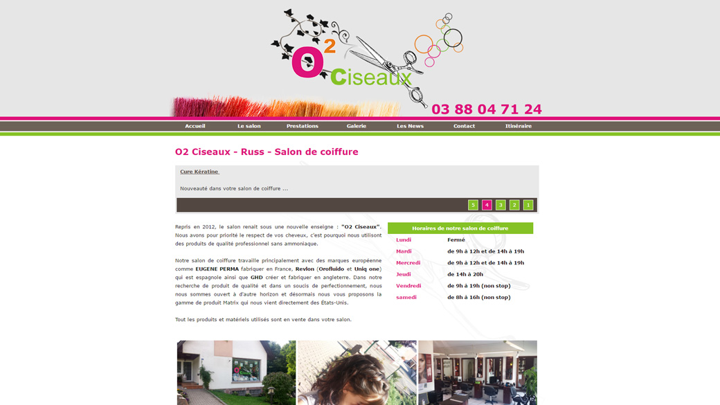 conception d'un site internet en formule location maintenance pour le salon de coiffure O2 Ciseaux