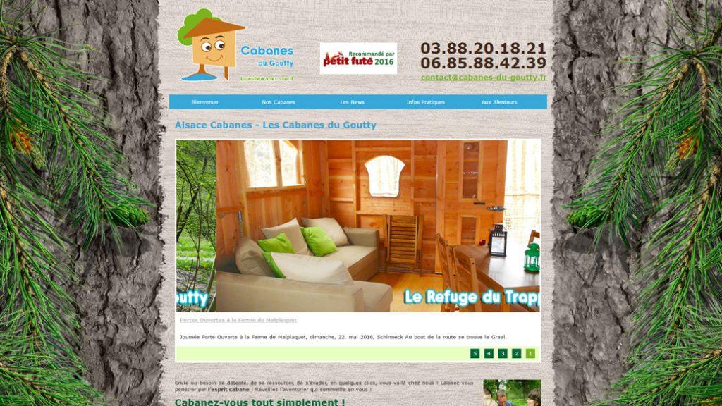 site web en formule location maintenance pour les Cabanes du Goutty